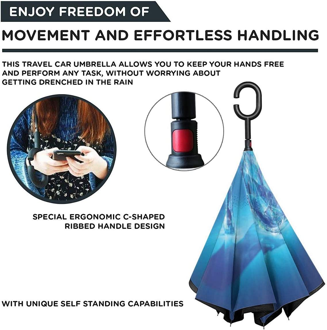Windproof And Rainproof Double Folding Inverted Umbrella With C-Shaped Handle UV Protection Inverted Folding Umbrellas Cinderella Lost Shoes Car Reverse Umbrella