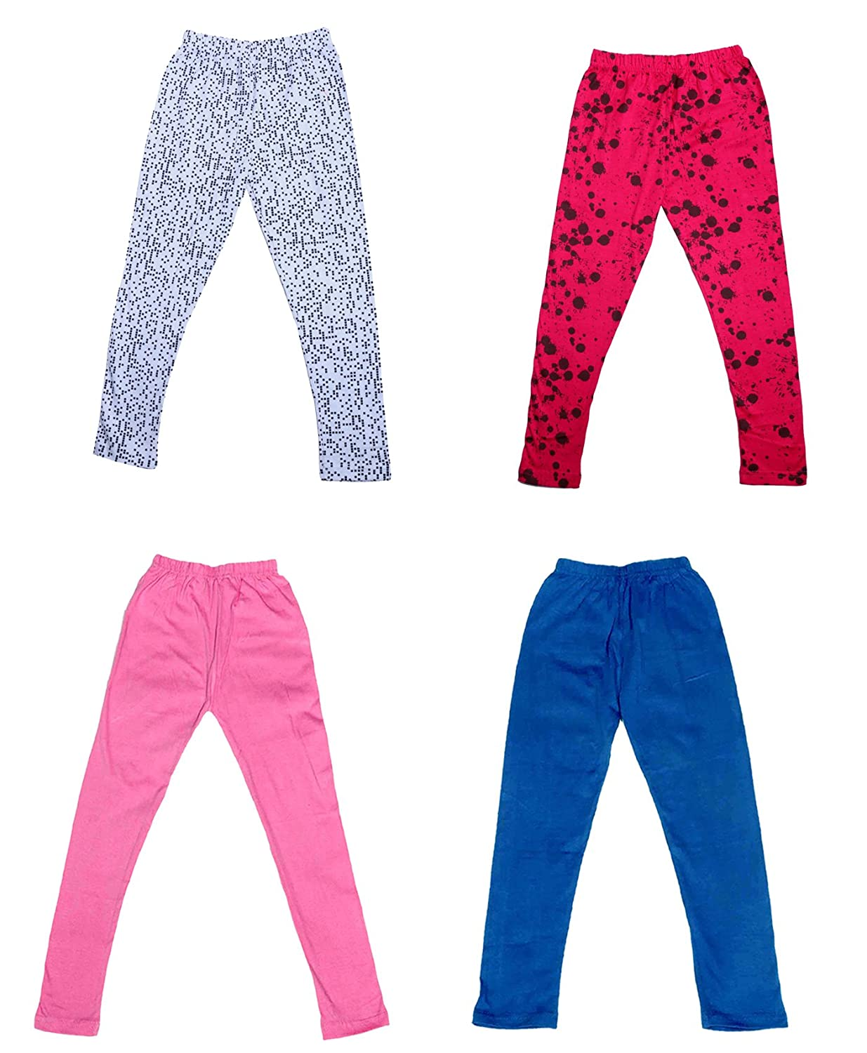 Indistar Girls 2 Cotton Solid Legging Pants and 2 Cotton Printed Legging Pants /_Multicolor/_Size-7-8 Years/_71408092021-IW-P4-30 Pack Of 4