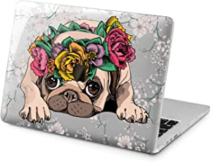 "Cavka Hard Shell Case for Apple MacBook Pro 13"" 2019 15"" 2018 Air 13"" 2020 Retina 2015 Mac 11"" Mac 12"" Design Laptop Pug Cover Protective Print Leaf Funny Roses Dog Flower Plastic Floral Cute Puppy"