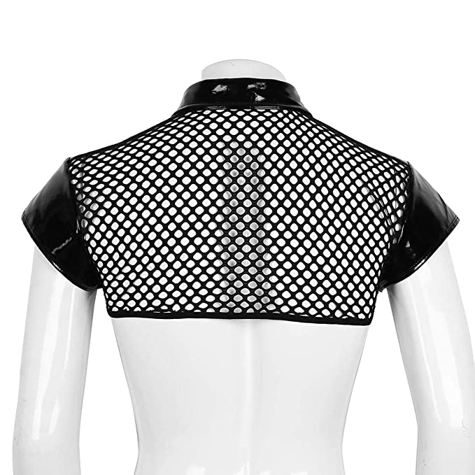 44e084f1e50fb1 Amazon.com  Agoky Men s Fishnet See Through Half Tank Top Muscle Crop Tops T -Shirt Vest Tee Shirts Clubwear  Clothing
