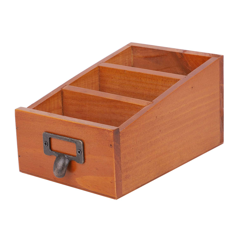 Desk Organizer Durable Practical Vintage Multifunction Case Wooden Storage Box