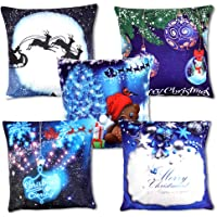 "OWUDE Merry Christmas Pillow Covers 5 Pack, Super Soft Plush Cushion Covers Home Decorative Throw Pillow Cases for Living Room Study Bed Sofa, Blue,18"" x 18"""