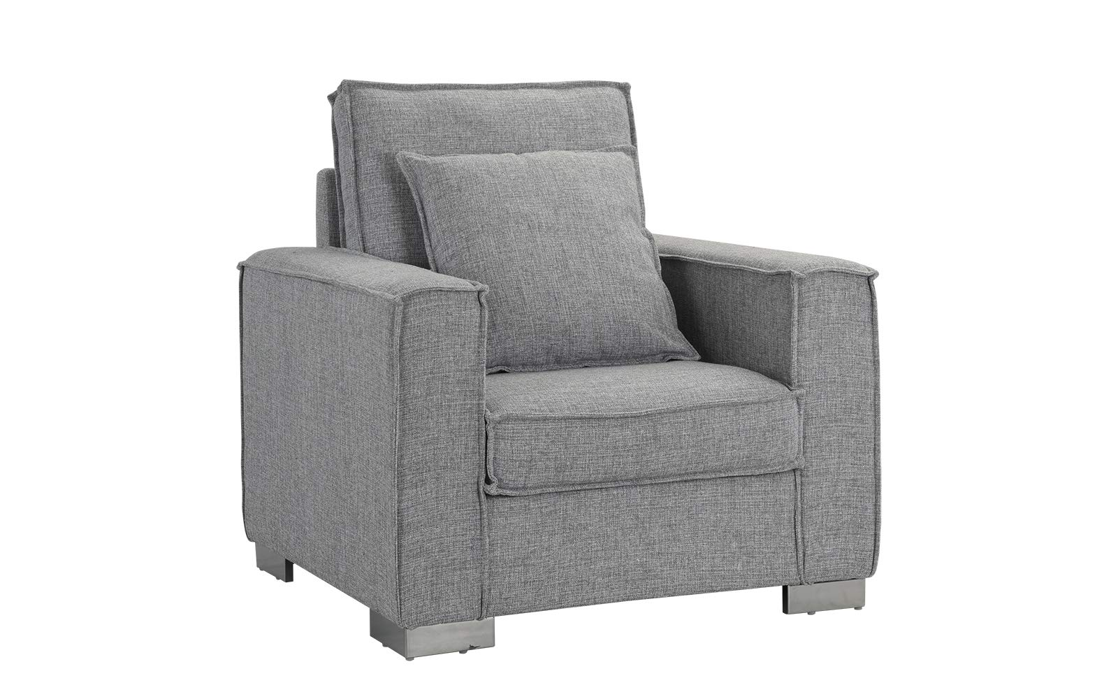 Living Room Large Linen Fabric Armchair, Living Room Accent Chair (Light Grey) - Club style chair with plenty of room for ultimate comfort and includes additional pillow. Upholstered in soft linen fabric with an exposed edge trim around frame and cushions. Low profile with a square shape and wide track arm rests, and features chrome L shape legs. - living-room-furniture, living-room, accent-chairs - 71eR%2BWXVhqL -