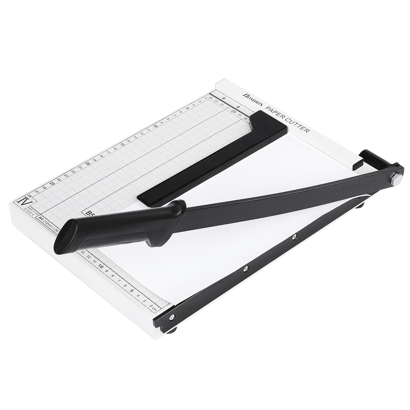 carsget Professional Guillotine Lever Style Black Handle Paper Trimmer A5 Cutter Business Card Photo B6 Cutter Commercial Grade Square Guillotine Trimmer for Classroom Dresses