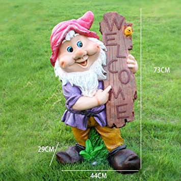 Jardín Al Aire Libre Cartoon Elf Dwarf Welcome Card Garden Sculpture Crafts Decoration- (A B C D) D:44 * 29 * 73cm: Amazon.es: Bricolaje y herramientas