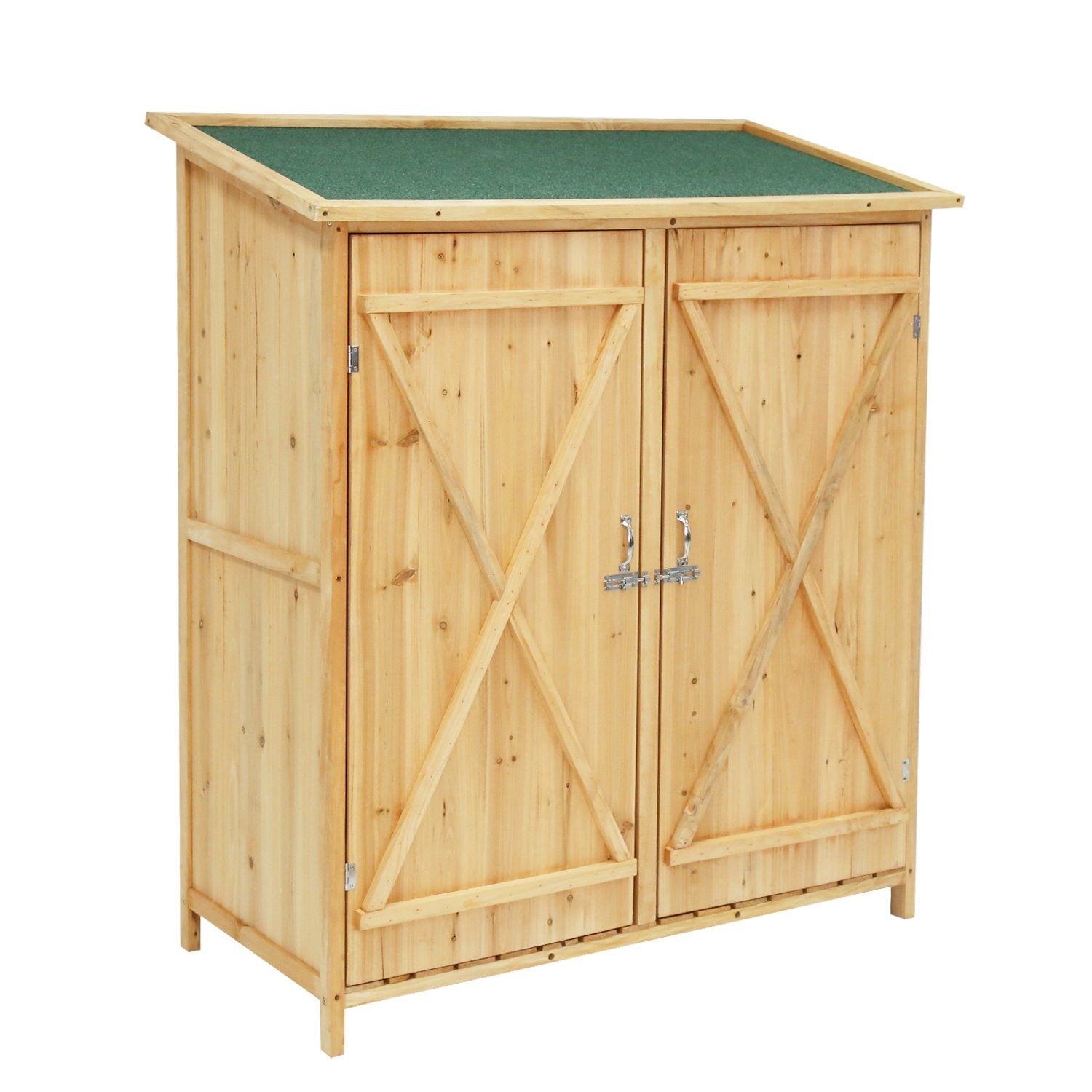 Kinbor Wood Shed Garden Storage Shed Lockable with Double Doors and Chair