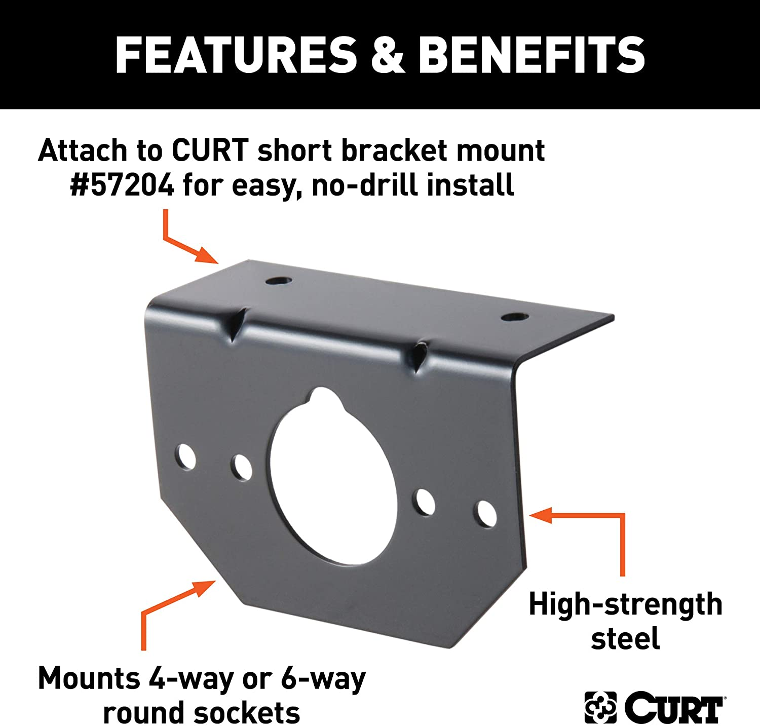 CURT 57207 Vehicle-Side Trailer Wiring Harness Mounting Brackets for 4-Way or 6-Way Round,12-Pack