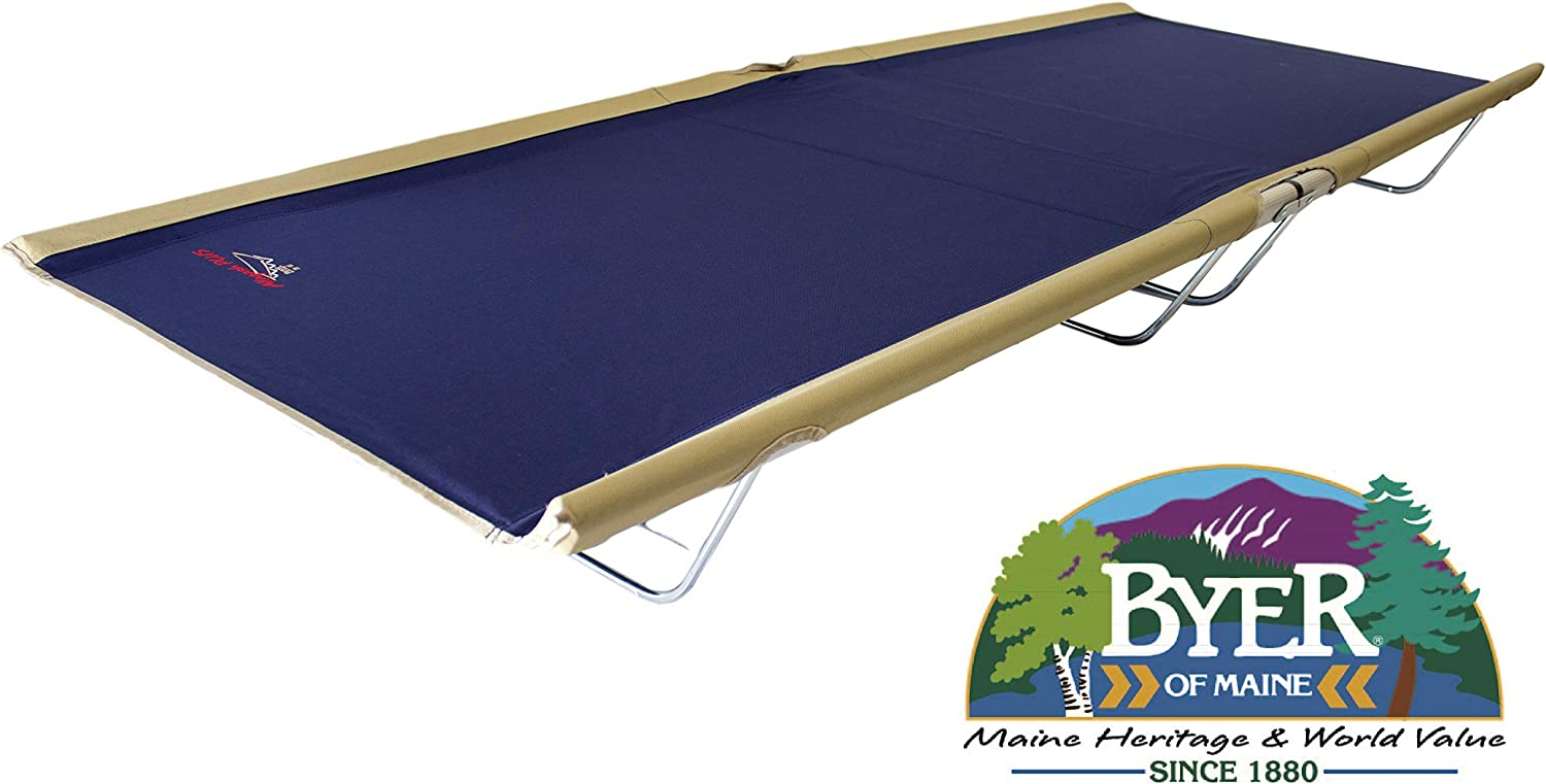 BYER OF MAINE, Allagash Plus, Cot, 76 L X 30 W X 8 H, Lightweight Cot, Extra Wide, Camping Cots Adult, Holds up to 250lbs, Single, Portable Camping Cot