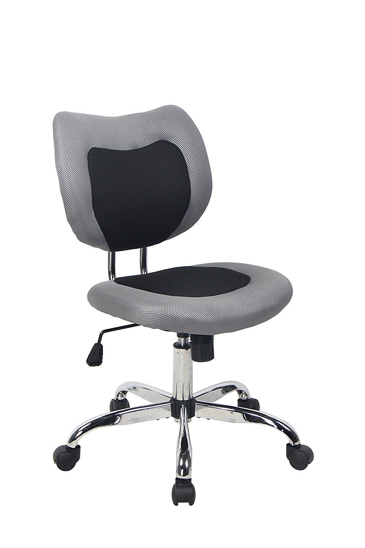 BONUM Swivel Desk Office Chair Low Back Armless Task Study Chair Adjustable Seat Height Mesh Home Chair - Black (Black)
