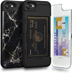 TORU CX PRO Compatible with iPhone SE 2020/iPhone 8/iPhone 7 Case - Protective Dual Layer Wallet Pattern with Hidden Card Holder + ID Card Slot Hard Cover & Mirror - Black Marble