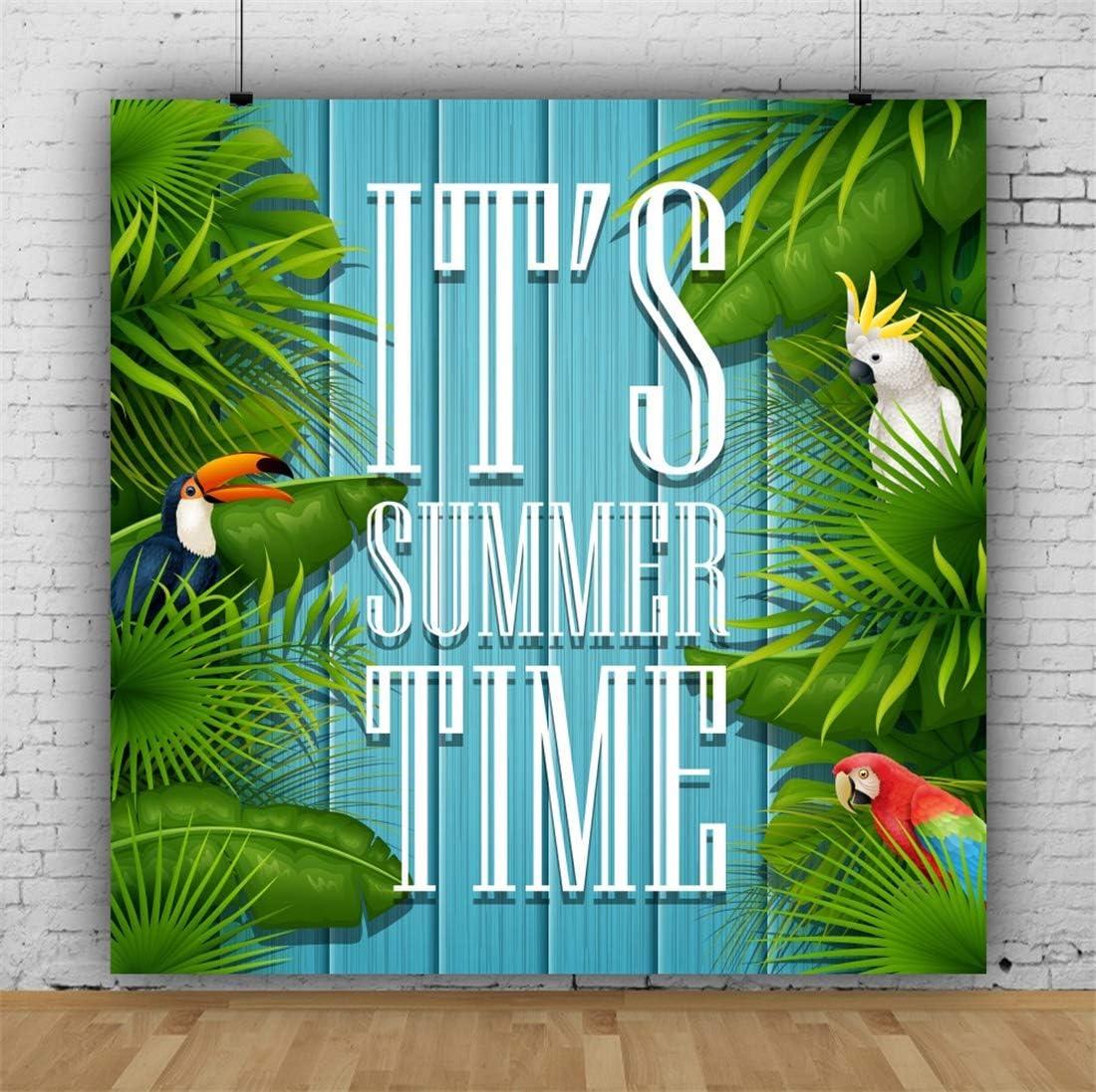 Yeele 10x10ft Summer Time Photography Background Cartoon Bird Parrot Green Plant Palm Tree Sea Blue Wooden Plank Photo Backdrop Studio Props Video Drape