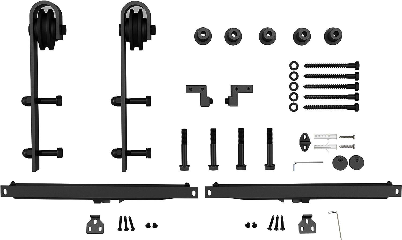 200cm 200cm Kohlenstoffstahl laufschiene Schiebet/ürbeschlag Set mit 2 soft T/ürd/ämpfer,Hardware Kit 80/'/',f/ür 36-40 T/üren