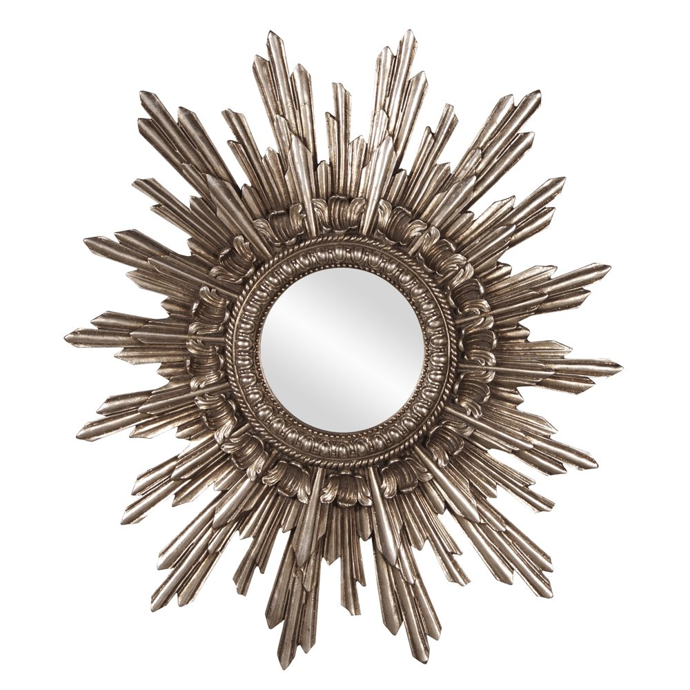 Howard Elliott Chelsea Antique Starburst Mirror, Antique Silver Resin Frame, Accent Piece