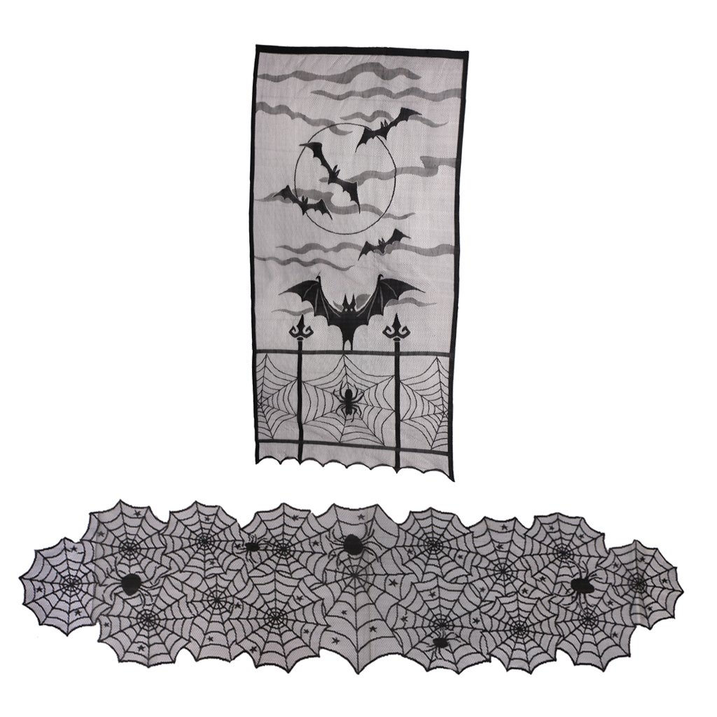 Dovewill Halloween Black Lace Spooky Spider Spiderweb Bat Cloth Table Runner Window Curtain Ornaments Party Accessories