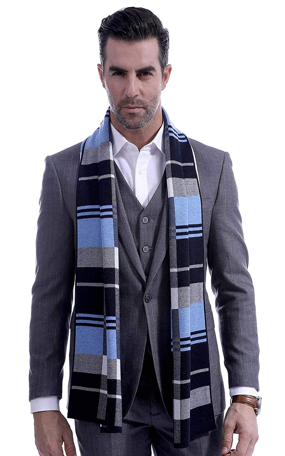Mens Elegant Warm Wool Shawl Wrap Luxurious Classic Plaid Scarves Lightweight - Blue Panegy