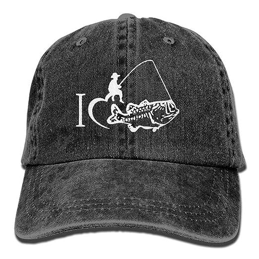 Amazon.com  I Love Fishing Vintage Denim Baseball Cap Adjustable Dad Hat  Unisex  Clothing 38f13c2c129