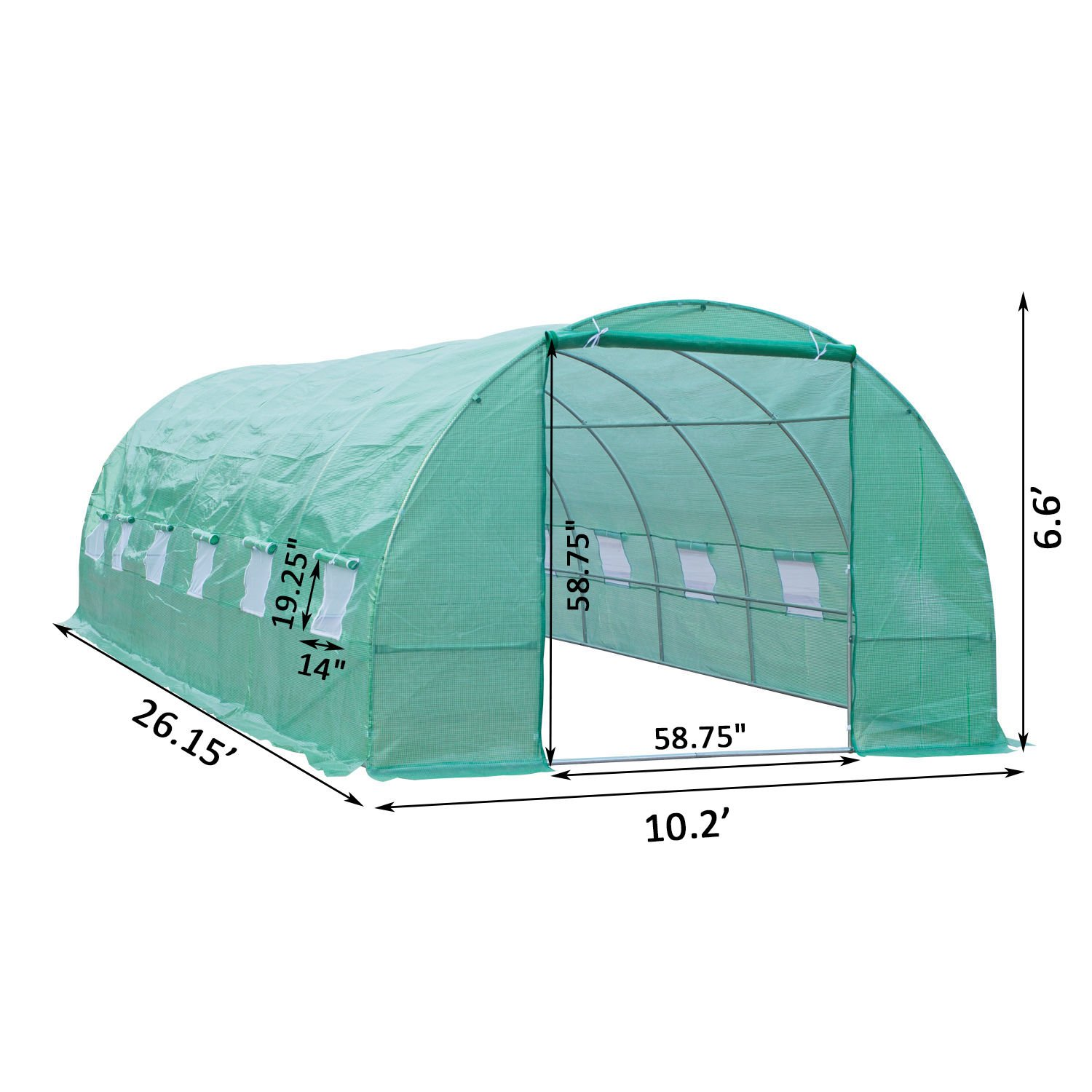 Outsunny 26' x 10' x 7' Portable Walk-in Garden Greenhouse - Deep Green by Outsunny (Image #6)