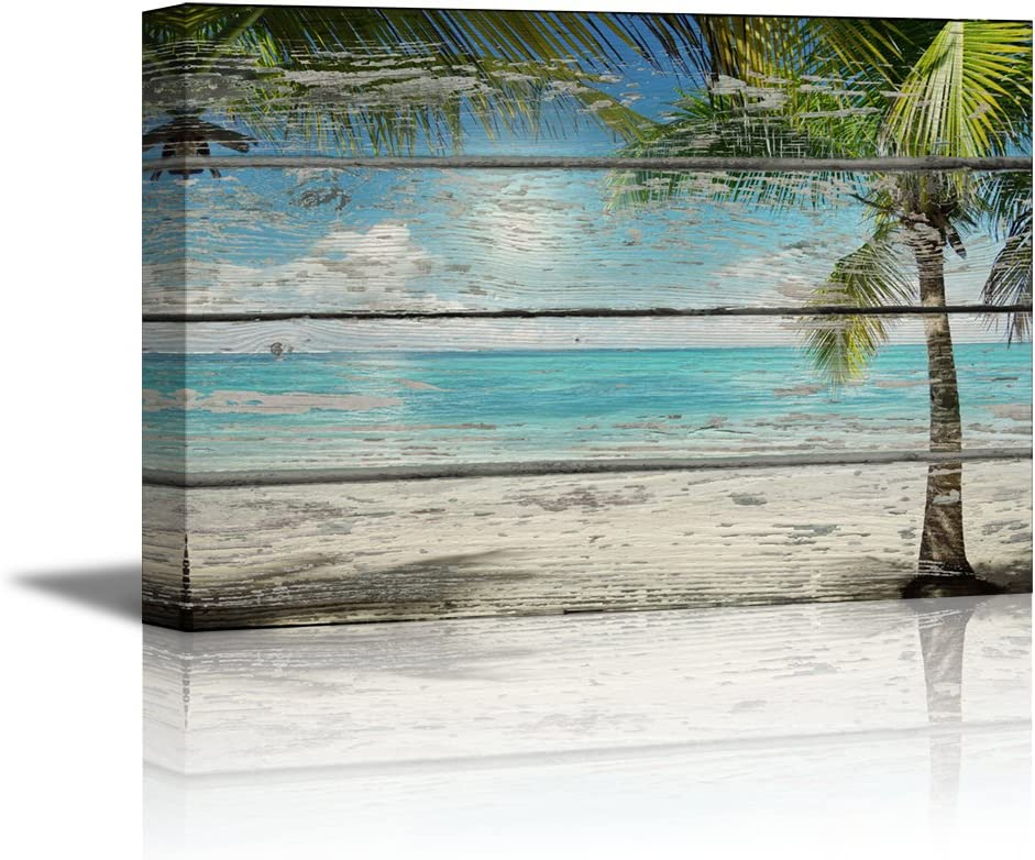 "wall26 - Canvas Prints Wall Art - Tropical Beach with Palm Tree on Vintage Wood Background Rustic Home Decoration - 16"" x 24"""