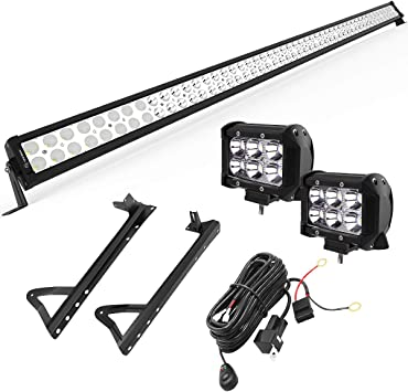 """43/""""IN 240W LED LIGHT CURVED SPOT/&FLOOD BEAM TRUCK OFFROAD+2X18W FOG LAMP 4INCH"""