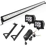 "YITAMOTOR 52"" inch 300W Combo+ 2X 18W Spot LED Light Bar + Mounting Brackets+Wiring for JEEP JK Wrangler"