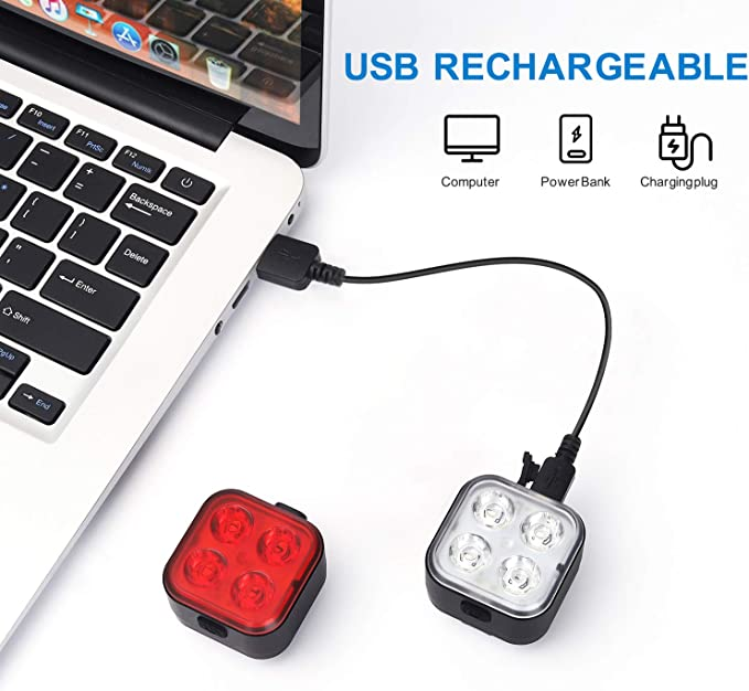 Waterproof Instant Install 4 Light Mode Fits All Bikes Lightweight Rechargeable Bike Lights Front and Back Durable Super Bright Bicycle Lights TESHUDI Bike Light Set