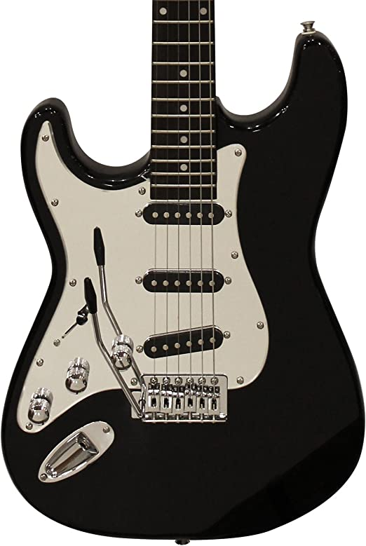 Sawtooth 6 String Left-Handed Solid-Body Electric Guitar Black with Chrome Pickguard ST-ES-LH-BKC-BEG-KIT