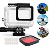 Waterproof Housing for GoPro Hero 2018 Hero 7 Hero 6 Hero 5 Action Camera Aoyooh Protective Case Black with Switchable Red Lens Filter + 12 Pcs Anit fog inserts - 45M Underwater Diving