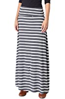 TheMogan Women's Casual Solid Plain Draped Jersey Knit Long Maxi Skirt
