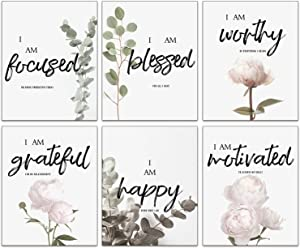 """Modern Art Inspirational Quotes Plant Pink Peony Flower Wall Posters Prints Set of 6 (8""""X10""""Canvas Picture) Girl Woman Bedroom Bathroom Cloakroom Dressing Art Painting Home Decor Unframed"""