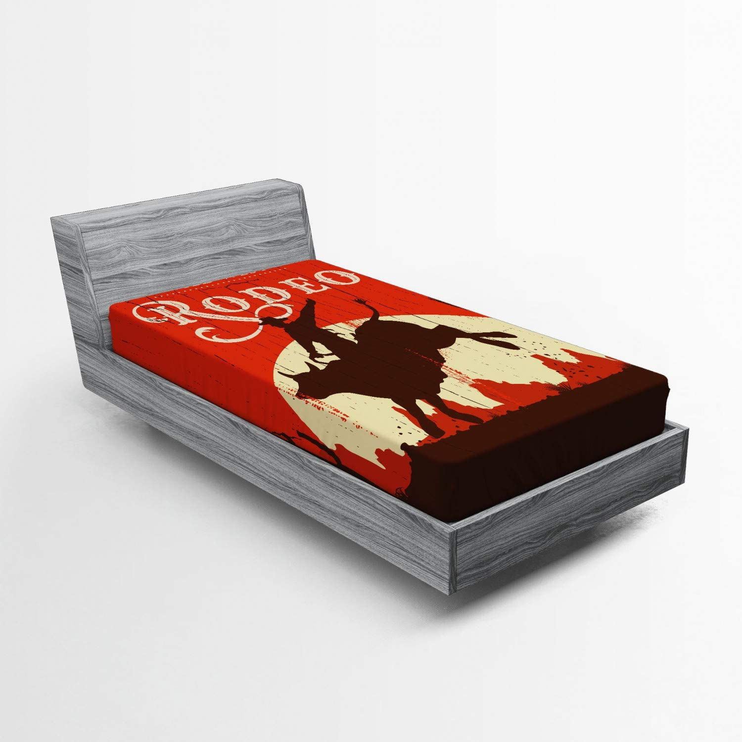 Ambesonne Vintage Fitted Sheet, Rodeo Cowboy Riding Bull Wooden Old Sign Western Style Wilderness at Sunset Image, Bed Cover with All-Round Elastic Deep Pocket for Comfort, Twin XL Size, Red Maroon