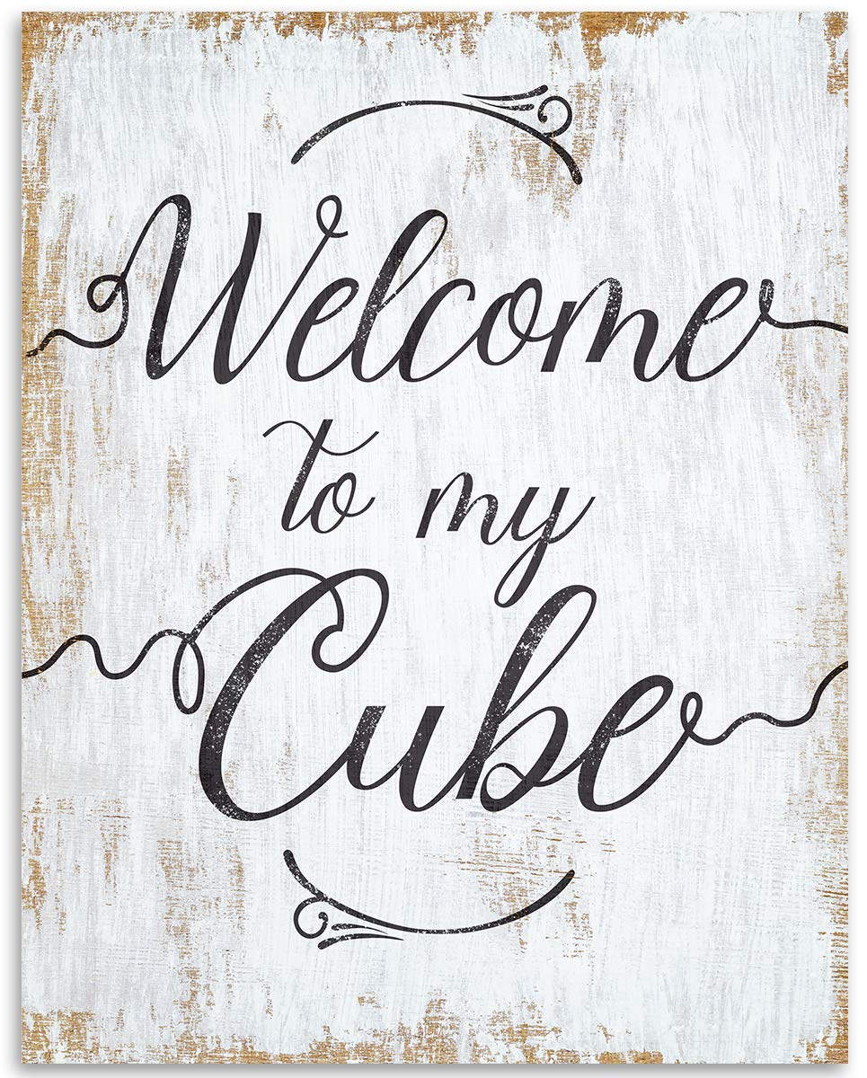 Welcome To My Cube - 11x14 Unframed Art Print - Great Office Cubicle Decor and Coworker Gift Under $15
