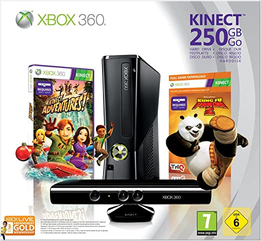 Xbox 360 - 250 GB, Incluye Sensor Kinect, Adventures y Kung Fu Panda 2: Amazon.es: Videojuegos