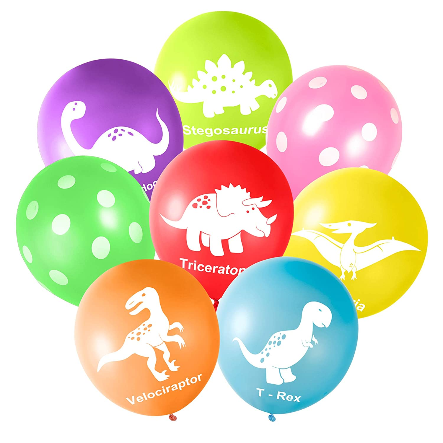 FEPITO 16PCS 12 Dinosaurs Latex Balloons for Dinosaur Party Supplies and Dinosaur Party Decorations