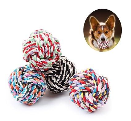 iPetoo 4 Piezas Mascotas Juguetes de Pelota Cuerda de Algodón ...