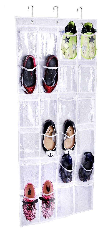 Joyoldelf X017 - Organizador de almacenamiento colgante con 24 bolsas para Zapatos, color Blanco
