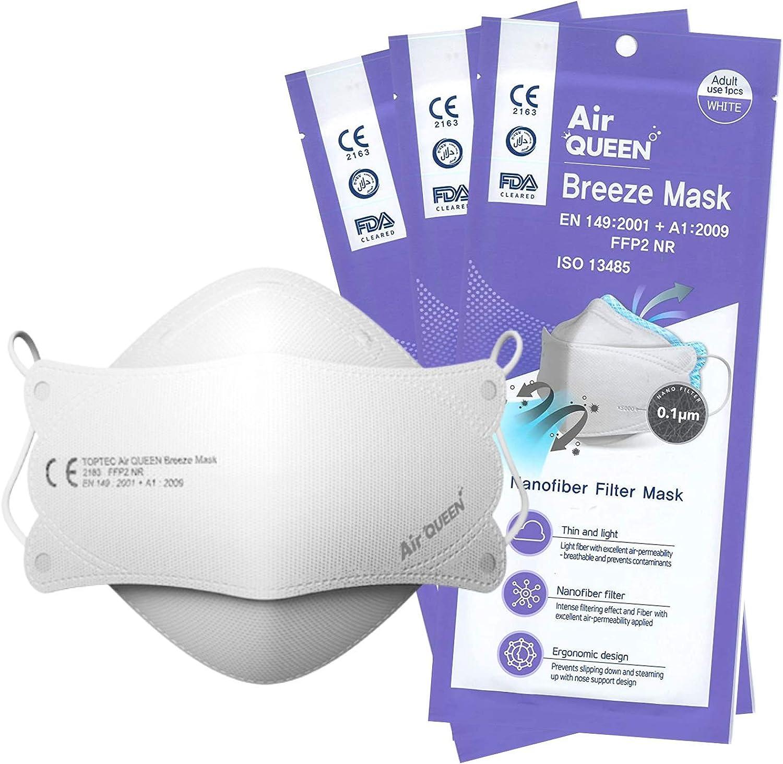 Air Queen Breeze Mask Mascarillas FFP2 Homologadas Nanofibras Nanotecnología CE FFP NR EN149:2001 + A1:2009 ISO 13485 – 25 Horas de Protección – Pack de 50 Mascarillas en Blisters Individuales