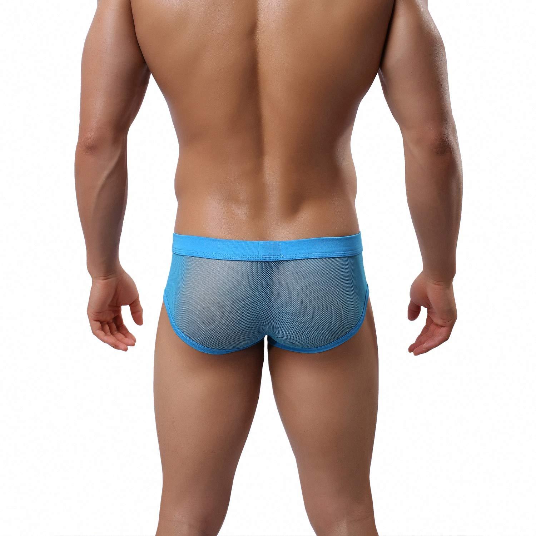 iooico Mens Underwear Soft Mesh Thongs G-Strings See-Through Briefs