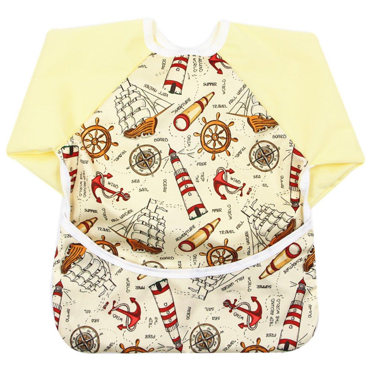 Storeofbaby Baby Bibs with Sleeves Pocket Long Waterproof Aprons 6 to 24 Months Unisex Sleeved Bib_1
