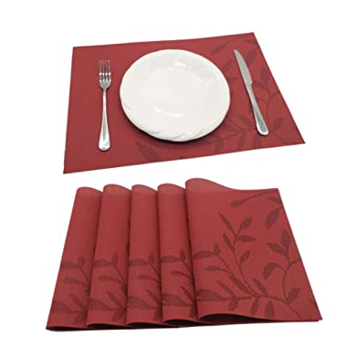Tennove Table Mats Set of 6, Washable Placemats Woven Vinyl PVC Place Mat for Home, Kitchen and Outdoor(D1)