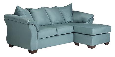 Darcy Contemporary Sky Sofa Chaise Microfiber