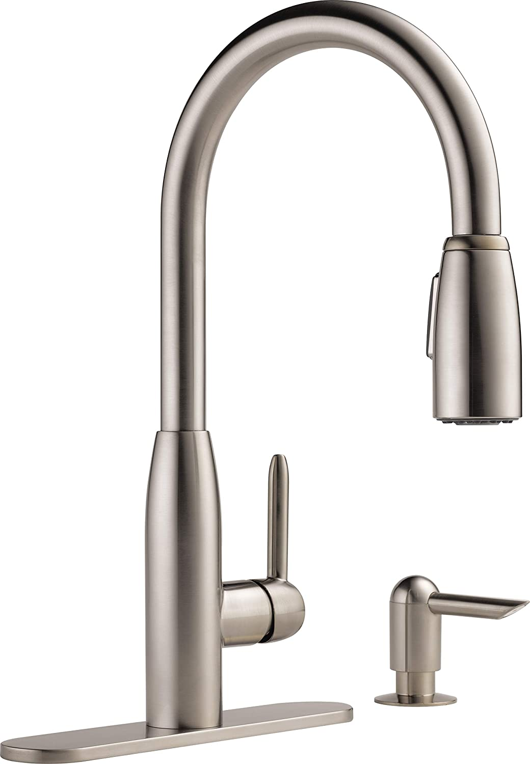 Peerless Single-Handle Kitchen Sink Faucet with Pull Down Sprayer and Soap Dispenser, Stainless P88103LF-SSSD-L