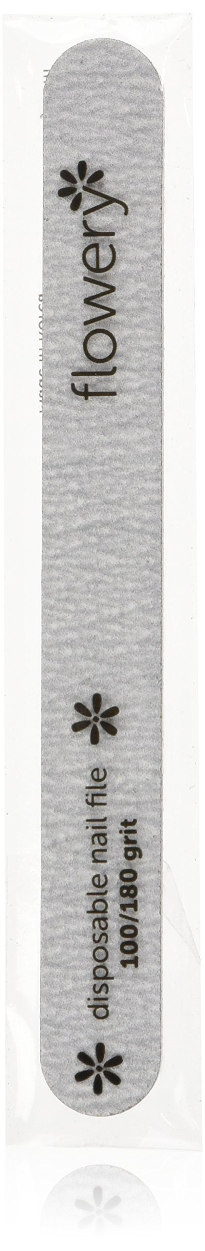 Flowery Disposable Nail File Cushion Core 100/180 Grit, Silver, Pack of 100 by Flowery