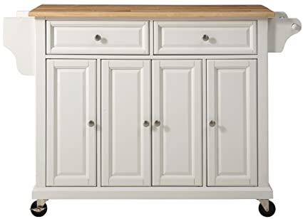 Delicieux Crosley Furniture Rolling Kitchen Island With Natural Wood Top   White