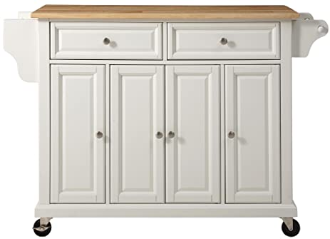 Lovely Crosley Furniture Rolling Kitchen Island With Natural Wood Top   White