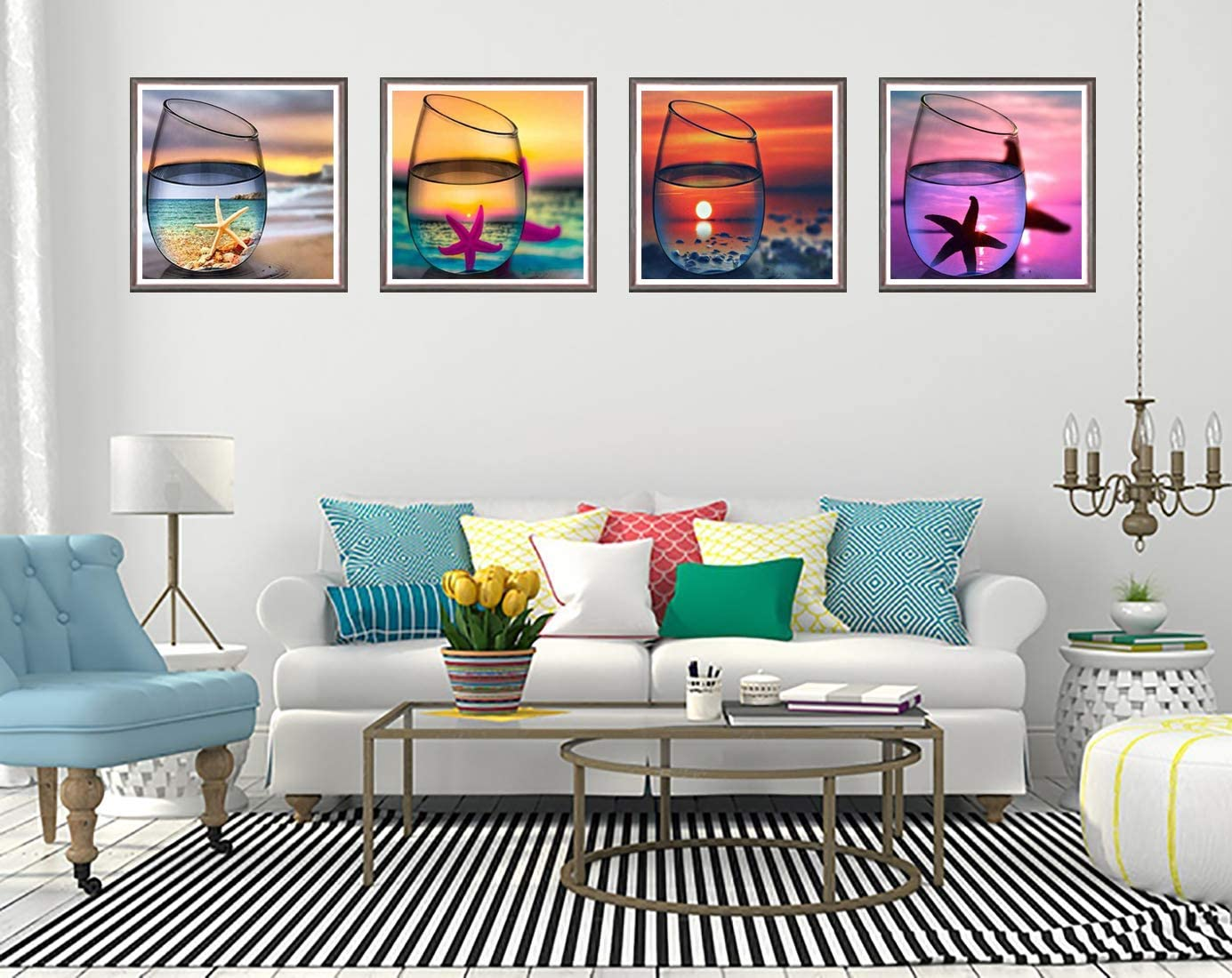 12 x 12 inch 5D DIY Diamond Painting by Number Kits Cup Scenery Full Drill for Adults,4 Pack Beach Landscape Paint with Diamonds Art Starfish Sunrise /& Sunset Craft Cross Stitch Decor