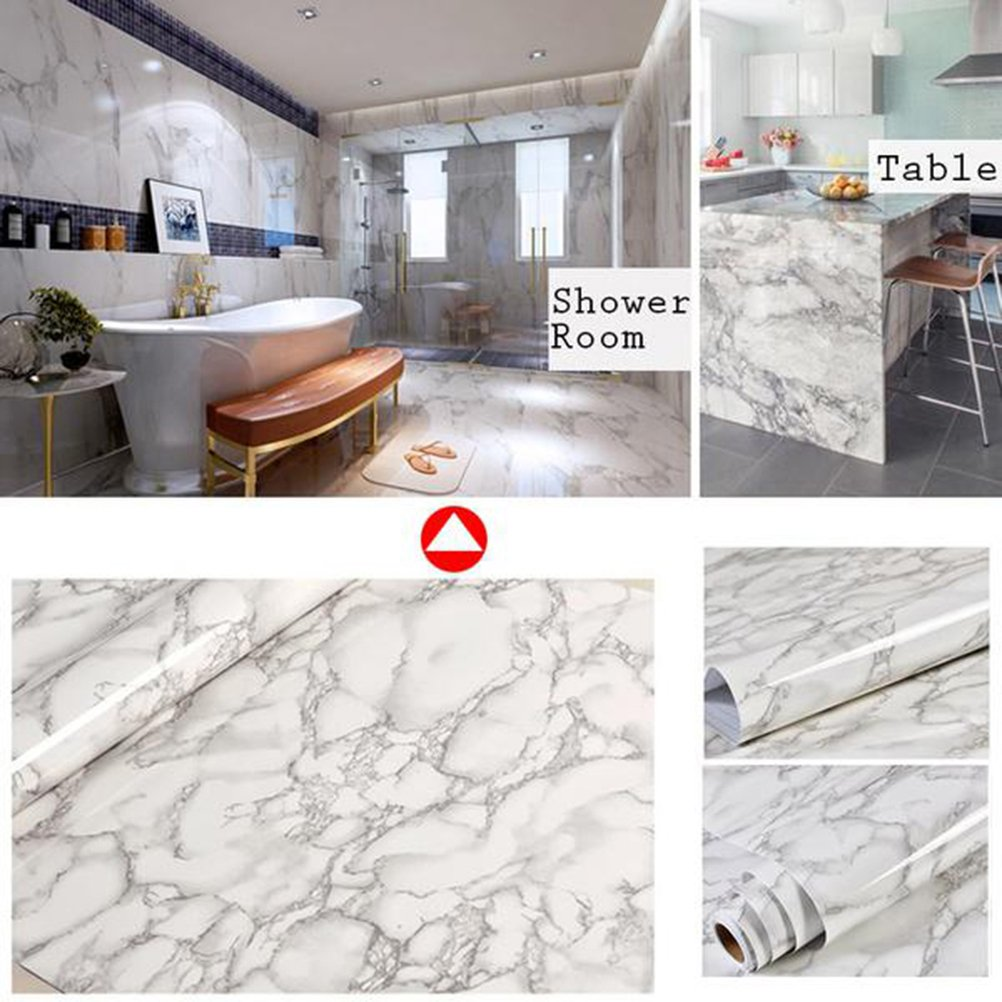 Yardwe Granite Look Marble Effect Wallpaper Adhesivo Peel Stick Rolling Paper 60x100cm