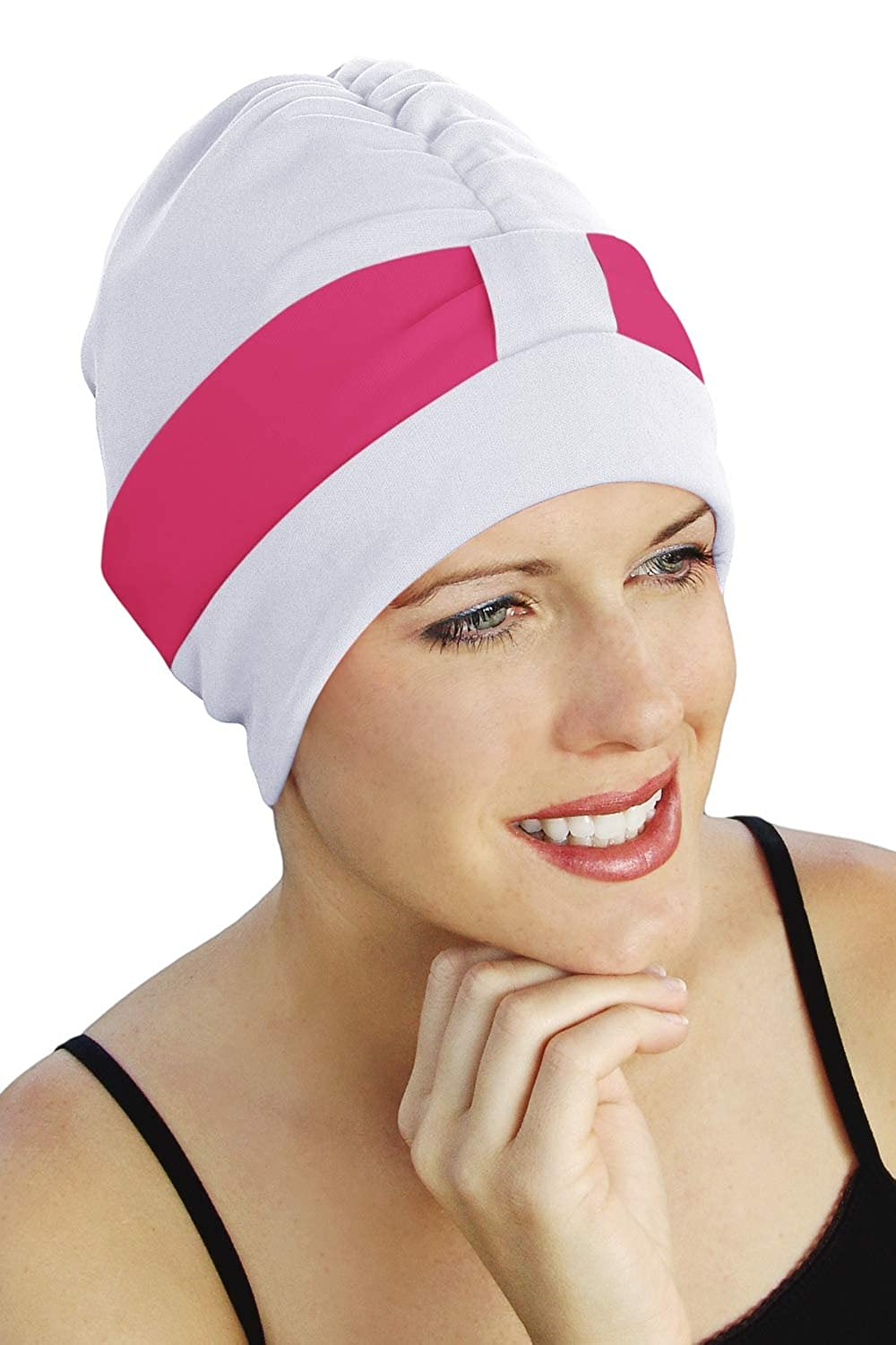 1950s Style Hats for Sale Retro Two Tone Swim Cap - Vintage Bathing Cap $13.19 AT vintagedancer.com