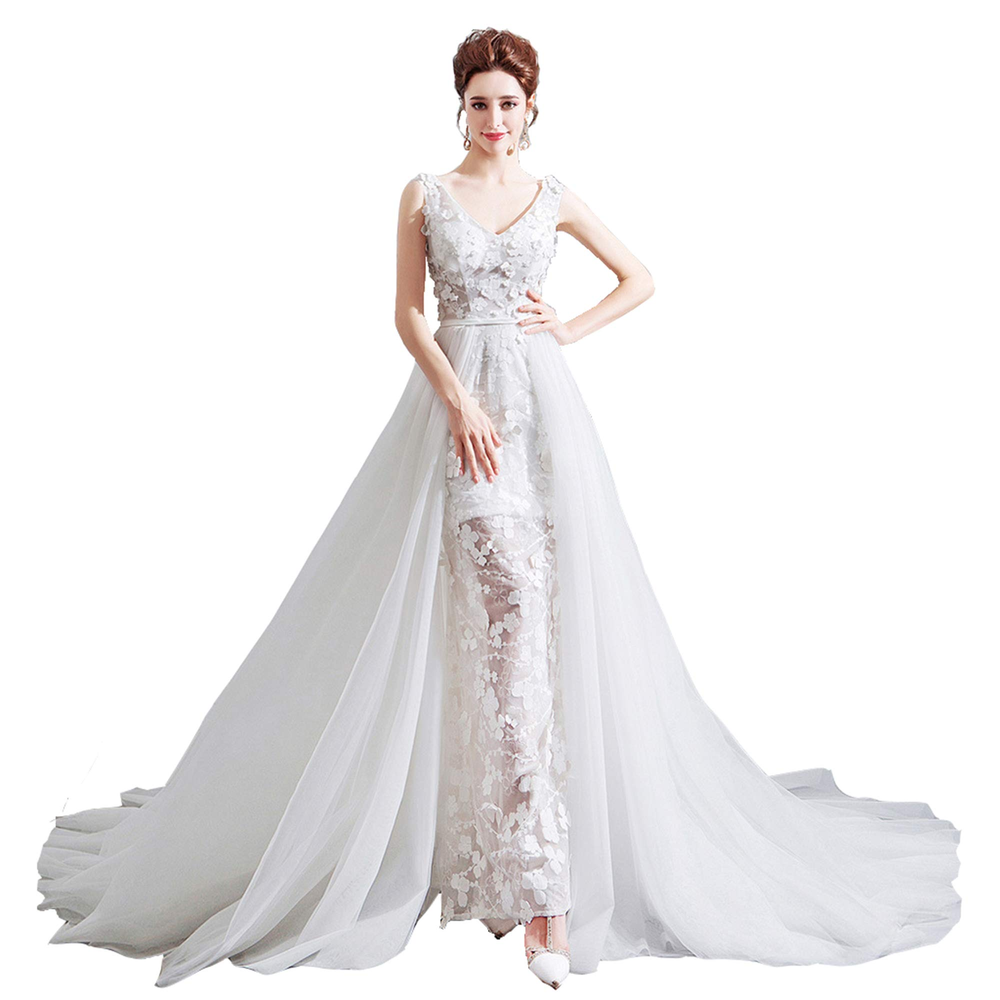 NOMSOCR Women's Lace V Neck Sleeveless Wedding Dresses Mermaid Bridal Gown (M, White)