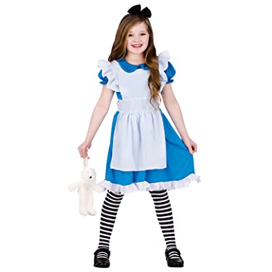 Alice In Wonderland Halloween Costumes Kids.Childrens Girls Classic Storybook Alice Fancy Dress Up Halloween Costume Outfit