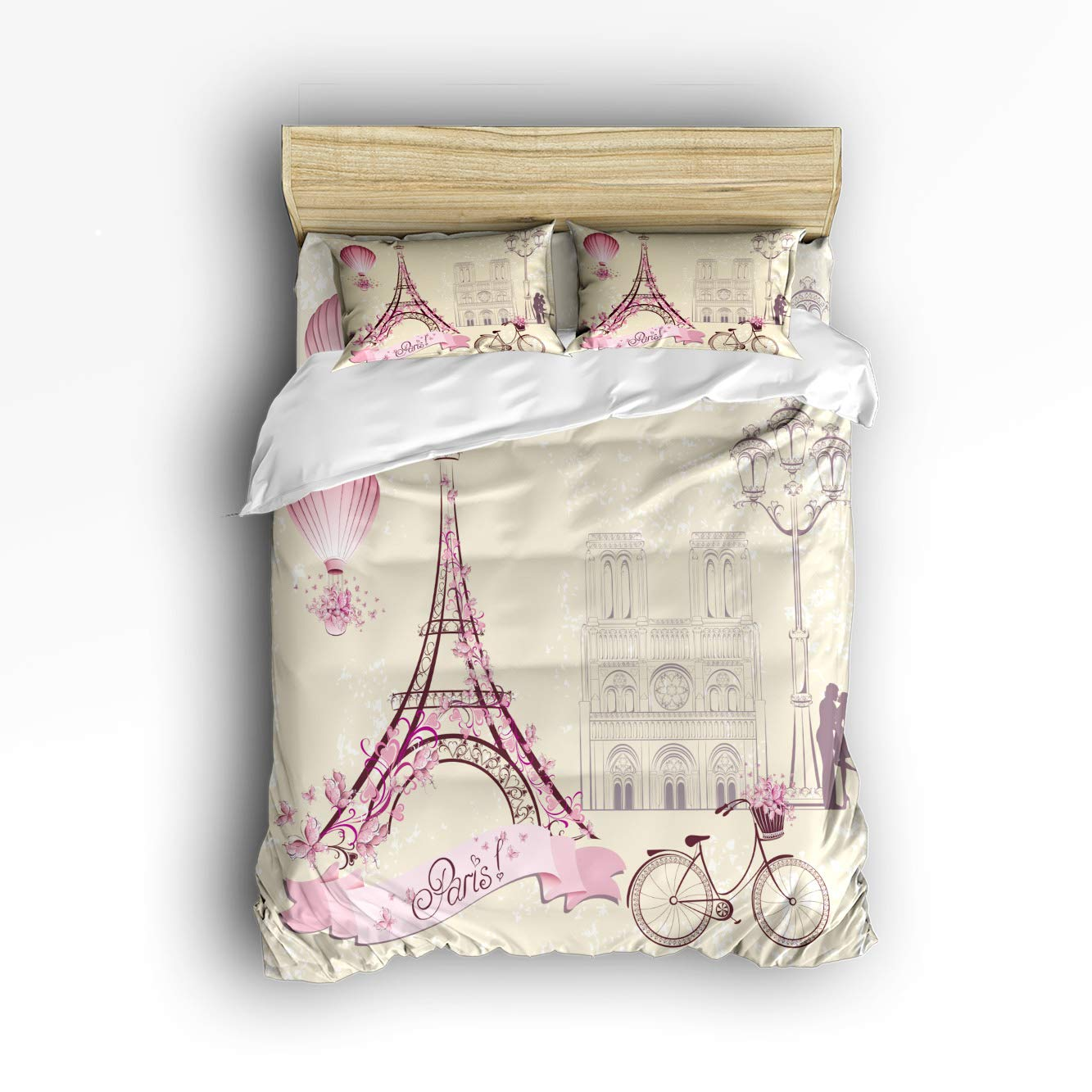 Prime Leader 4 Pcs Bedding Set Paris Eiffel Tower Greeting Card Duvet Cover Set Ultra Soft and Easy Care Sheet Quilt Sets with Decorative Pillow Covers for Children Kids Adults King Size